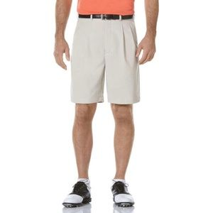 IZOD GOLF Mens Stone Microfiber Pleated Shorts 38W